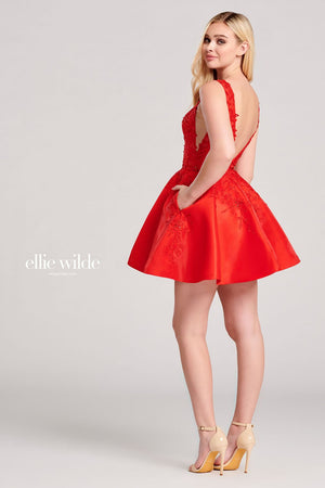 Ellie Wilde EW22010S prom dress images.  Ellie Wilde EW22010S is available in these colors: Red, Fuchsia, Light Yellow.