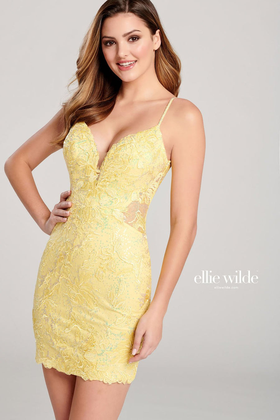 Ellie Wilde EW22011S prom dress images.  Ellie Wilde EW22011S is available in these colors: Ruby, Indigo, Light Yellow.