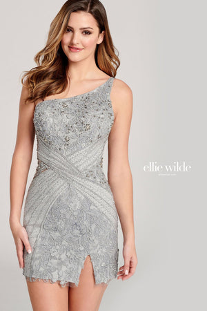 Ellie Wilde EW22013S prom dress images.  Ellie Wilde EW22013S is available in these colors: Red, Light Gray.