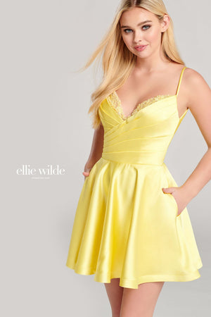 Ellie Wilde EW22014S prom dress images.  Ellie Wilde EW22014S is available in these colors: Red, Light Yellow, Royal Blue.