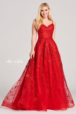 Ellie Wilde EW22015 prom dress images.  Ellie Wilde EW22015 is available in these colors: Red, Water.