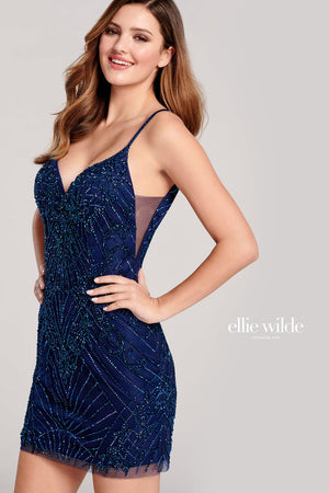 Ellie Wilde EW22016S prom dress images.  Ellie Wilde EW22016S is available in these colors: Navy Blue, Wine.
