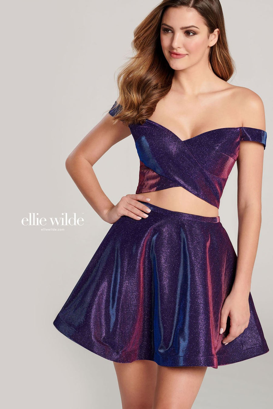 Ellie Wilde EW22018S prom dress images.  Ellie Wilde EW22018S is available in these colors: Sapphire, Aqua, Magenta, Galactic Purple.
