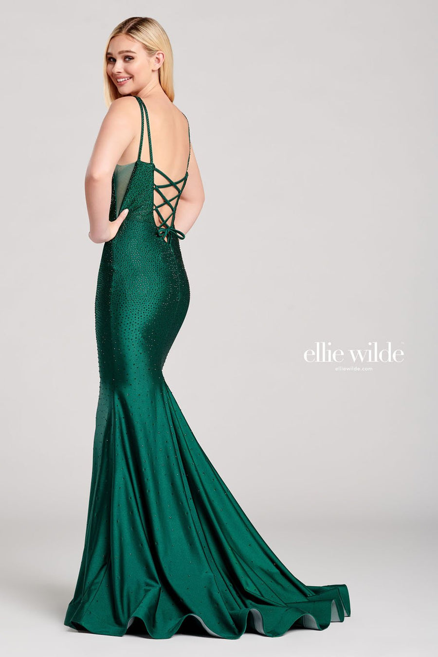 Ellie Wilde EW22019 prom dress images.  Ellie Wilde EW22019 is available in these colors: Navy Blue, Emerald, Silver.