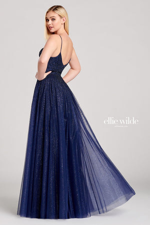 Ellie Wilde EW22020 prom dress images.  Ellie Wilde EW22020 is available in these colors: Navy Blue.