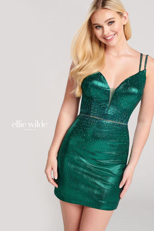 Ellie Wilde EW22021S prom dress images.  Ellie Wilde EW22021S is available in these colors: Indigo, Emerald.