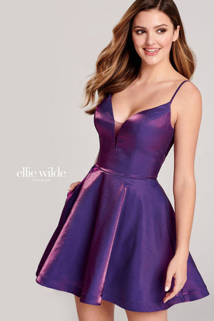 Ellie Wilde EW22023S prom dress images.  Ellie Wilde EW22023S is available in these colors: Grape, Red, Light Yellow, Pink Gold.