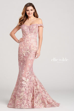 Ellie Wilde EW22027 prom dress images.  Ellie Wilde EW22027 is available in these colors: Gray Multi, Dusty Pink Multi.