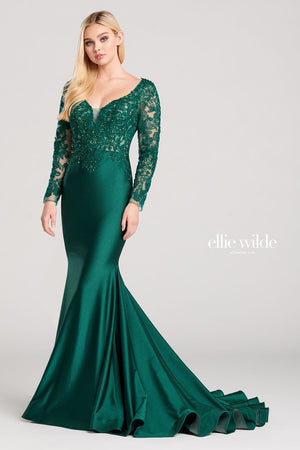 Ellie Wilde EW22028 prom dress images.  Ellie Wilde EW22028 is available in these colors: Silver, Emerald.