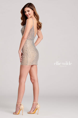 Ellie Wilde EW22029S prom dress images.  Ellie Wilde EW22029S is available in these colors: Silver Nude.