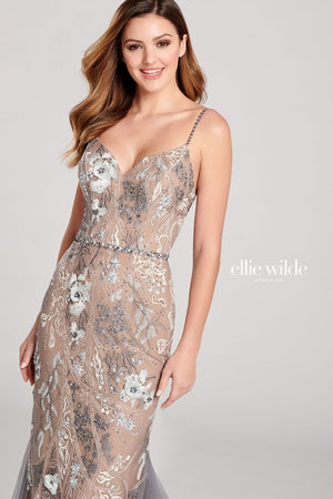 Ellie Wilde EW22030 prom dress images.  Ellie Wilde EW22030 is available in these colors: Dark Gray Multi.