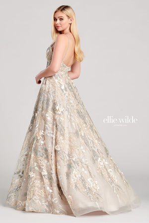 Ellie Wilde EW22031 prom dress images.  Ellie Wilde EW22031 is available in these colors: Champagne Gray, Dark Gray Multi.