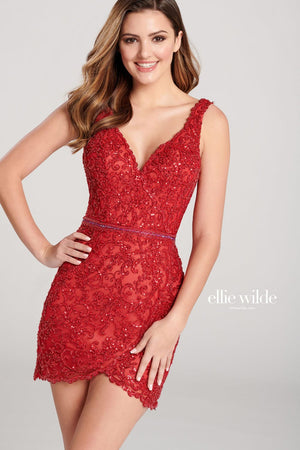 Ellie Wilde EW22032S prom dress images.  Ellie Wilde EW22032S is available in these colors: Silver Nude, Red Nude.