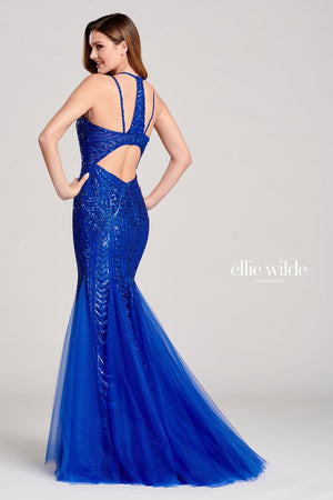 Ellie Wilde EW22033 prom dress images.  Ellie Wilde EW22033 is available in these colors: Royal Blue.