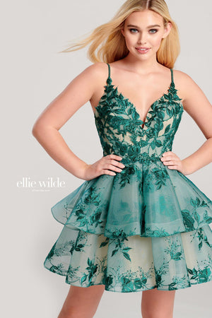 Ellie Wilde EW22039S prom dress images.  Ellie Wilde EW22039S is available in these colors: Blush, Navy Blue Nude, Emerald Nude.