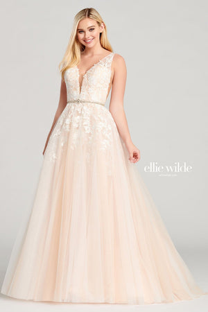 Ellie Wilde EW22040 prom dress images.  Ellie Wilde EW22040 is available in these colors: Ivory Blush, Light Yellow, Dark Red.