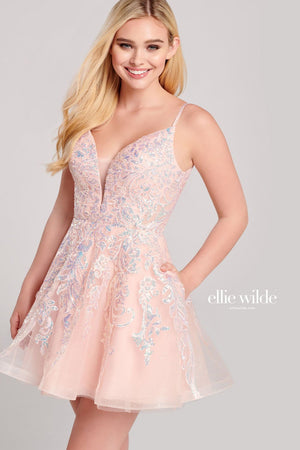 Ellie Wilde EW22041S prom dress images.  Ellie Wilde EW22041S is available in these colors: Blush, Wine.