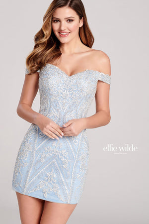 Ellie Wilde EW22043S prom dress images.  Ellie Wilde EW22043S is available in these colors: Ice Blue, Rosegold.