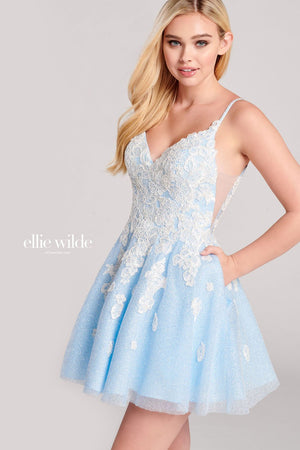 Ellie Wilde EW22044S prom dress images.  Ellie Wilde EW22044S is available in these colors: Ice Blue White, Light Yellow White.