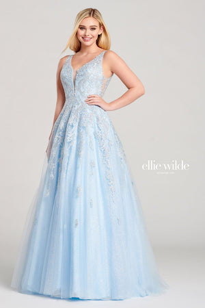 Ellie Wilde EW22045 prom dress images.  Ellie Wilde EW22045 is available in these colors: Ice Blue, Lavender.