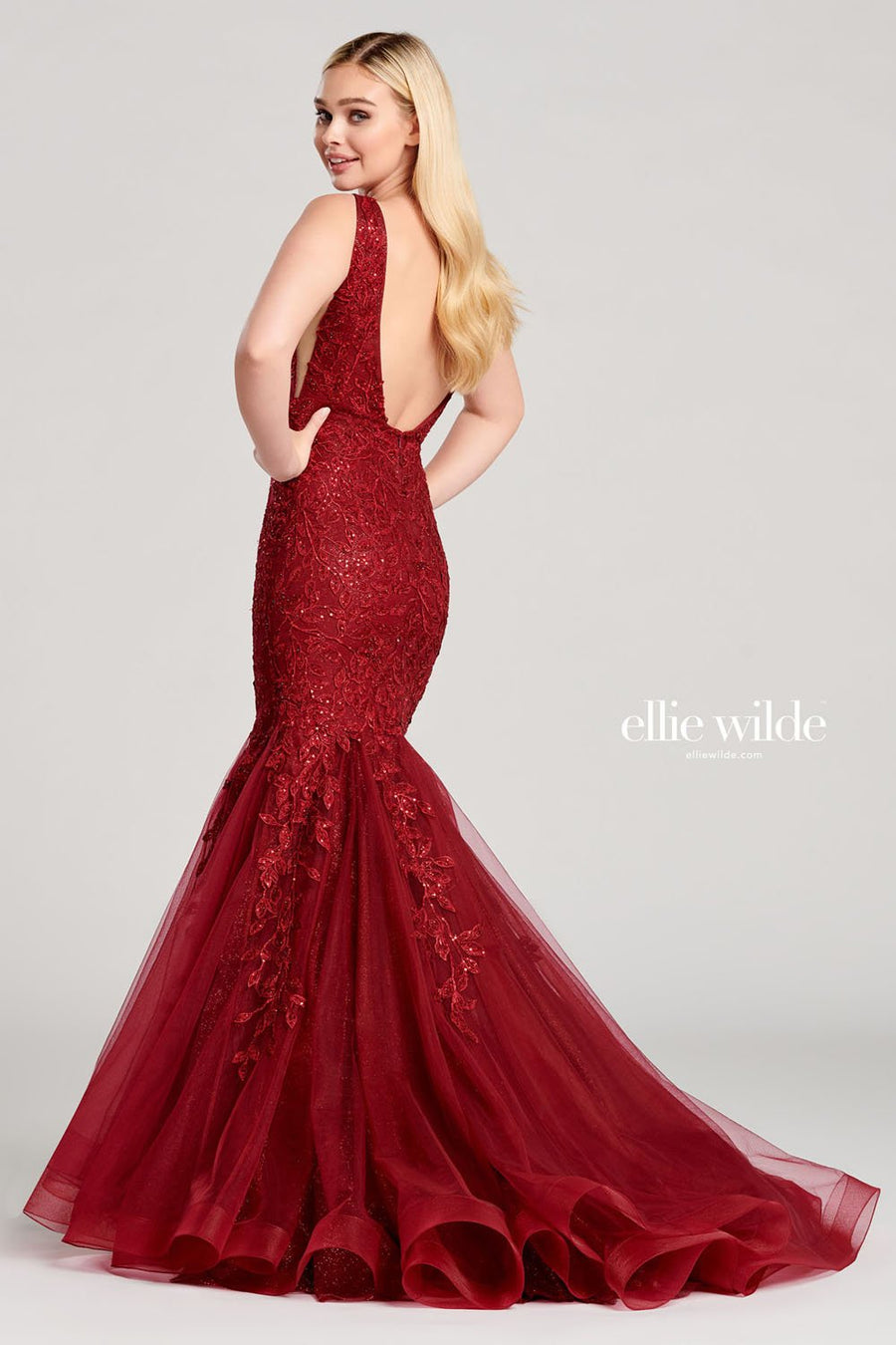 Ellie Wilde EW22047 prom dress images.  Ellie Wilde EW22047 is available in these colors: Wine, Emerald.
