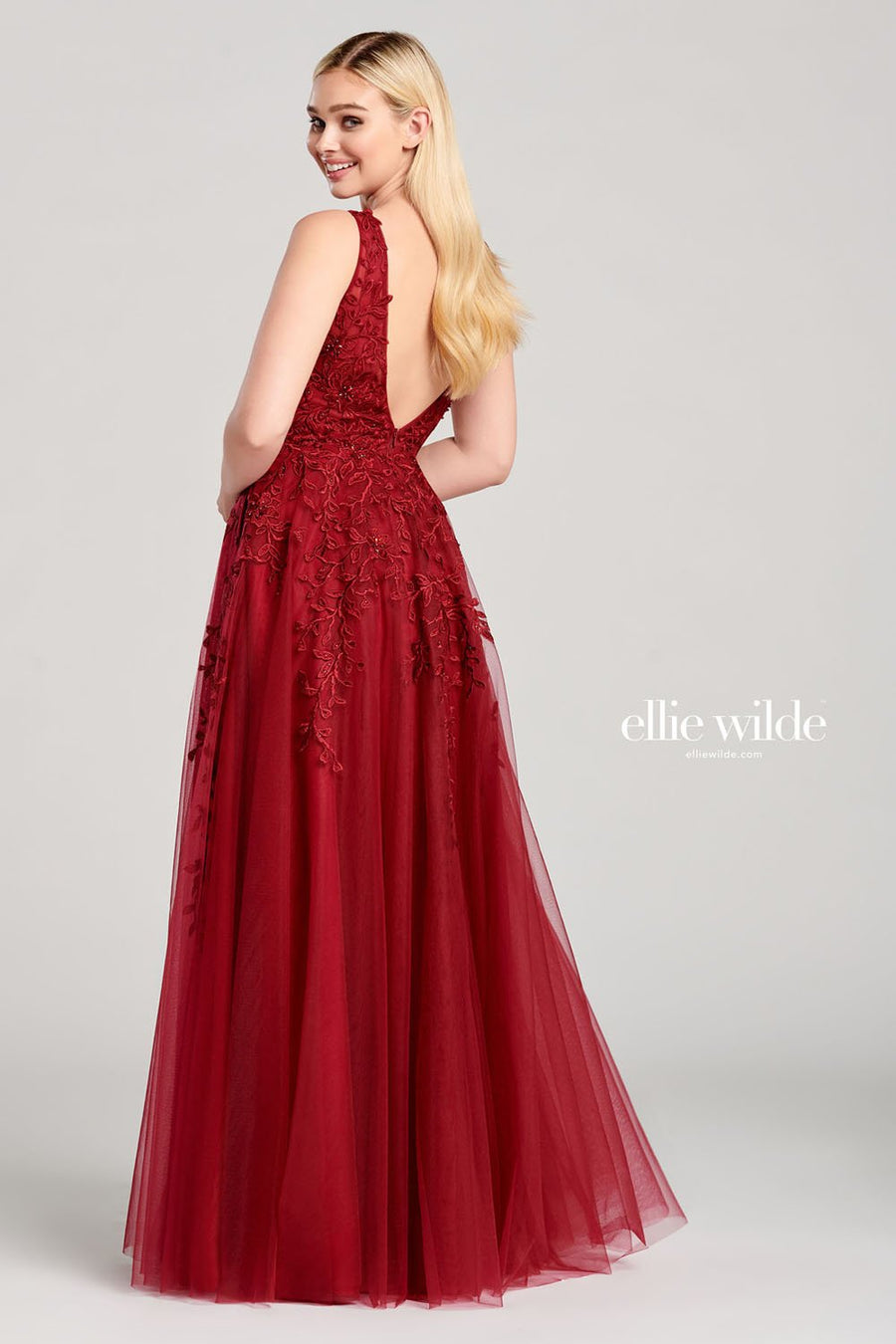 Ellie Wilde EW22048 prom dress images.  Ellie Wilde EW22048 is available in these colors: Wine, Navy Blue, Emerald.