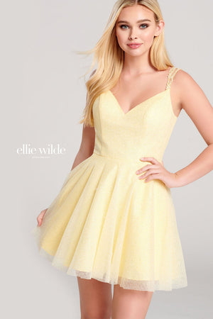 Ellie Wilde EW22059S prom dress images.  Ellie Wilde EW22059S is available in these colors: Lilac, Light Yellow, Ivory.