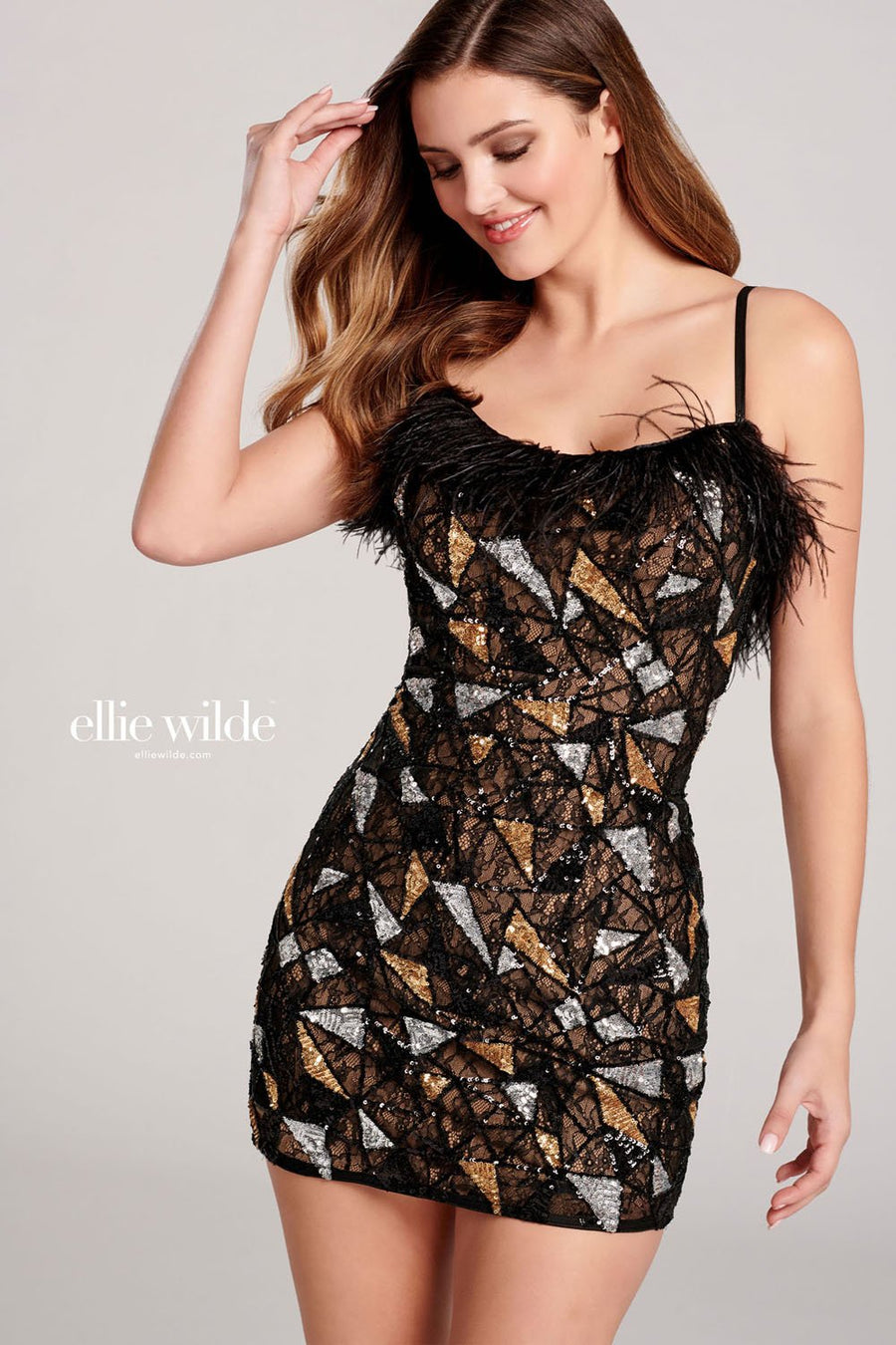 Ellie Wilde EW22063S prom dress images.  Ellie Wilde EW22063S is available in these colors: Black Multi.