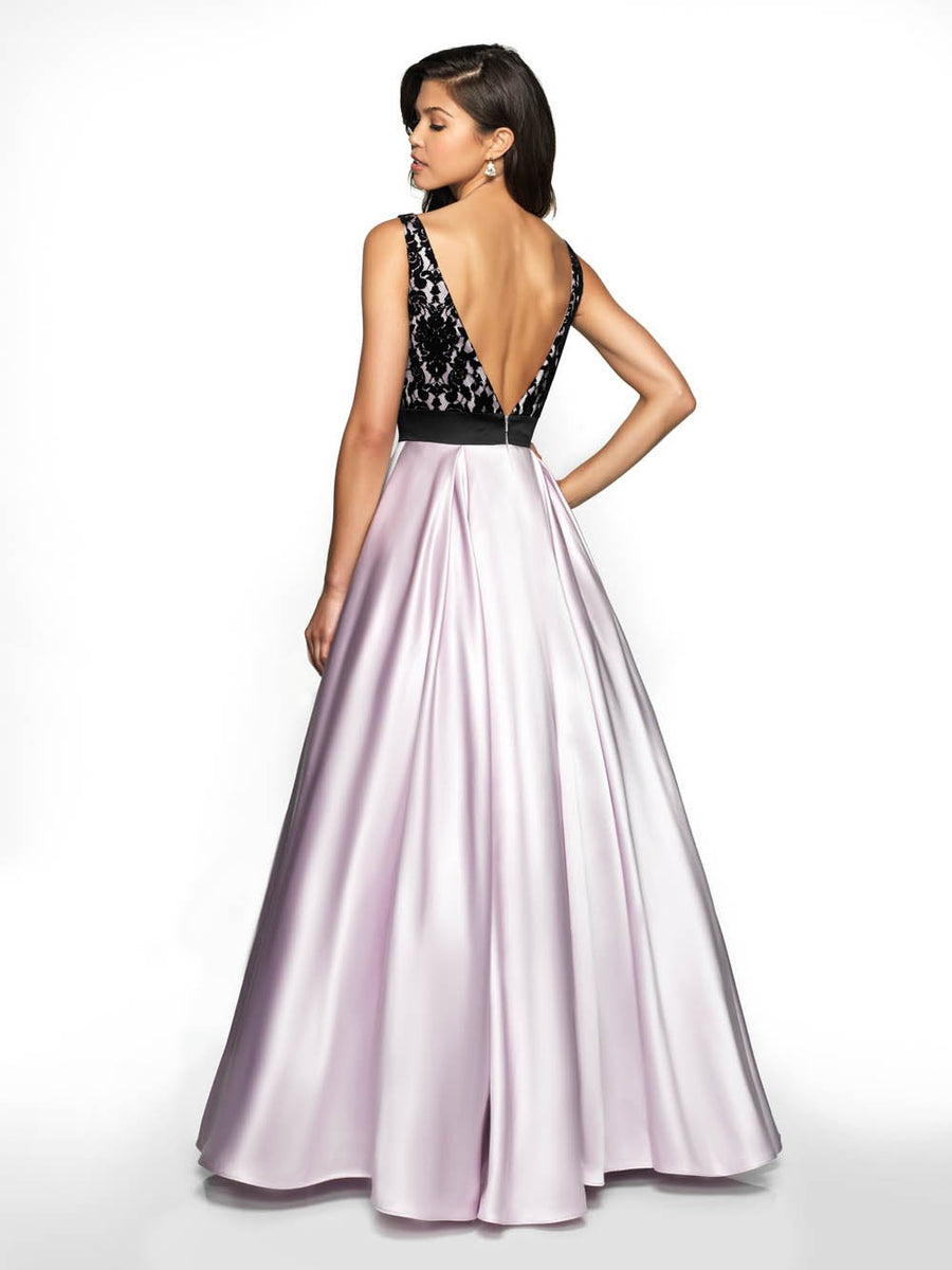 Flair Prom 19023 prom dress images.  Flair Prom 19023 is available in these colors: Lavender Black, Fuchsia Black.