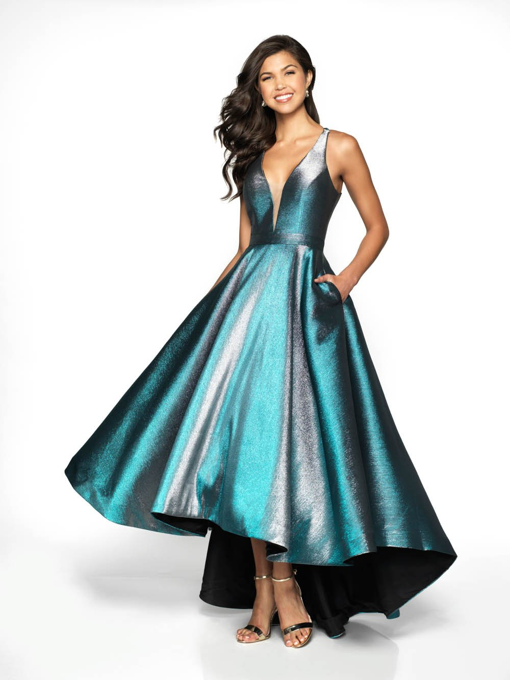 Flair Prom 19039 prom dress images.  Flair Prom 19039 is available in these colors: Blue Silver, Fuchsia Gold.