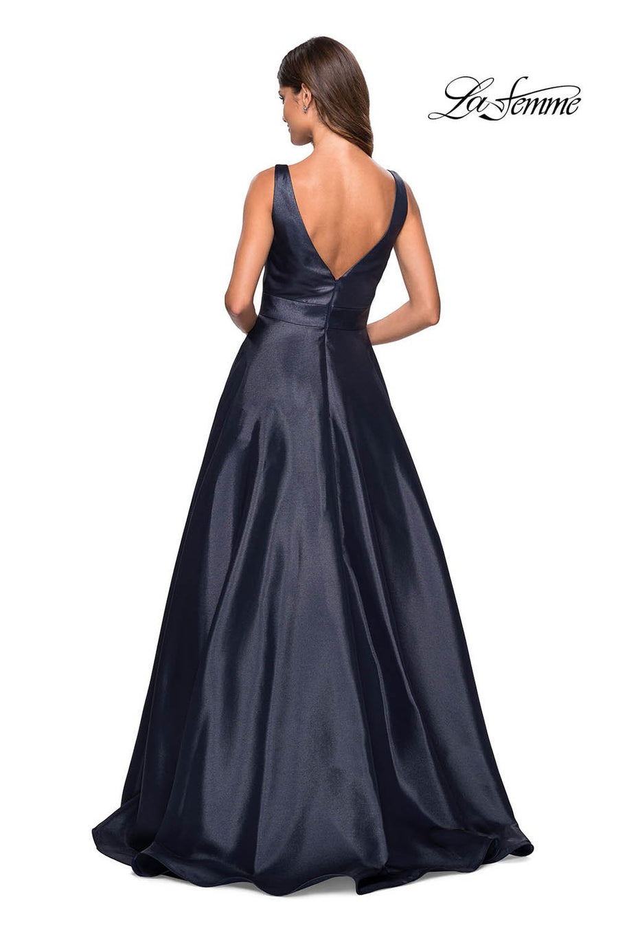Gigi by La Femme 27202 prom dress images.  Gigi by La Femme 27202 is available in these colors: Burgundy, Navy, Platinum.