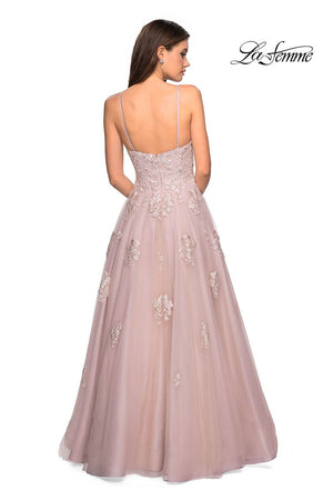 Gigi by La Femme 27320 prom dress images.  Gigi by La Femme 27320 is available in these colors: Blush, Cloud Blue, Ivory Nude.