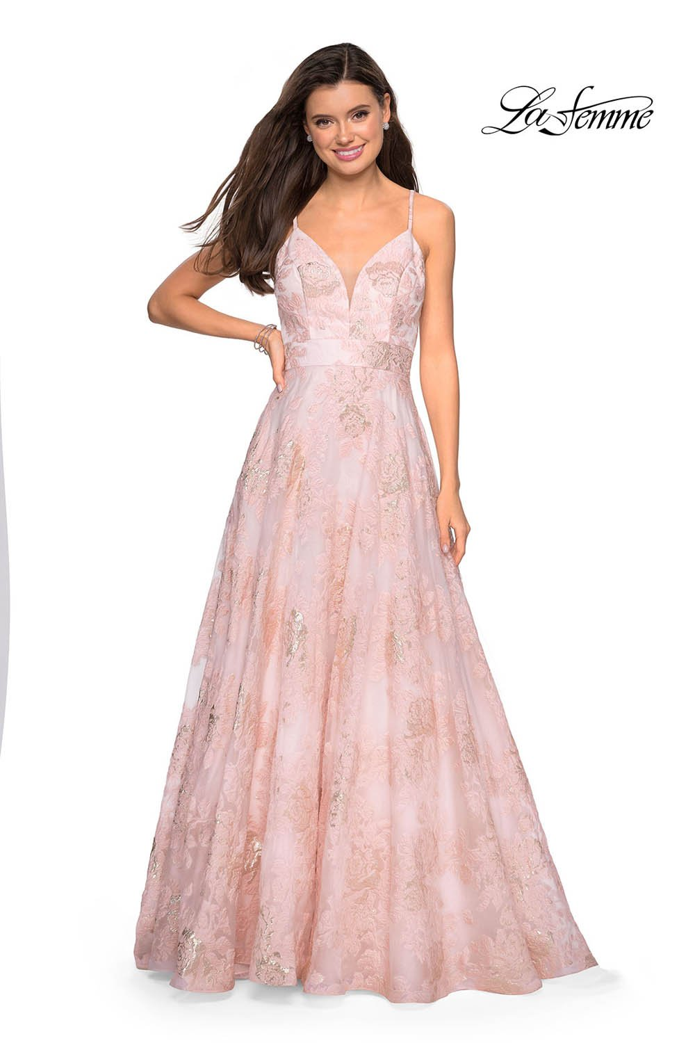 Gigi by La Femme 27549 prom dress images.  Gigi by La Femme 27549 is available in these colors: Pink Mulighti, Silver.