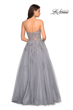 Gigi by La Femme 27592 prom dress images.  Gigi by La Femme 27592 is available in these colors: Champagne, Silver.