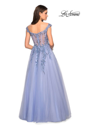 Gigi by La Femme 27595 prom dress images.  Gigi by La Femme 27595 is available in these colors: Blush, Cloud Blue.
