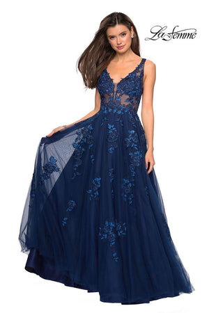 Gigi by La Femme 27647 prom dress images.  Gigi by La Femme 27647 is available in these colors: Navy, Nude.