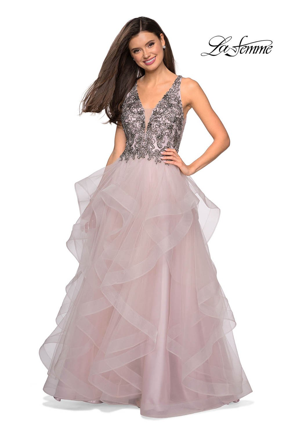Gigi by La Femme 27649 prom dress images.  Gigi by La Femme 27649 is available in these colors: Dusty Pink, Gunmetal, Navy.