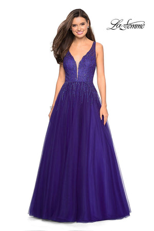 Gigi by La Femme 27688 prom dress images.  Gigi by La Femme 27688 is available in these colors: Garnet, Indigo, Lavender, Lemon, Silver.