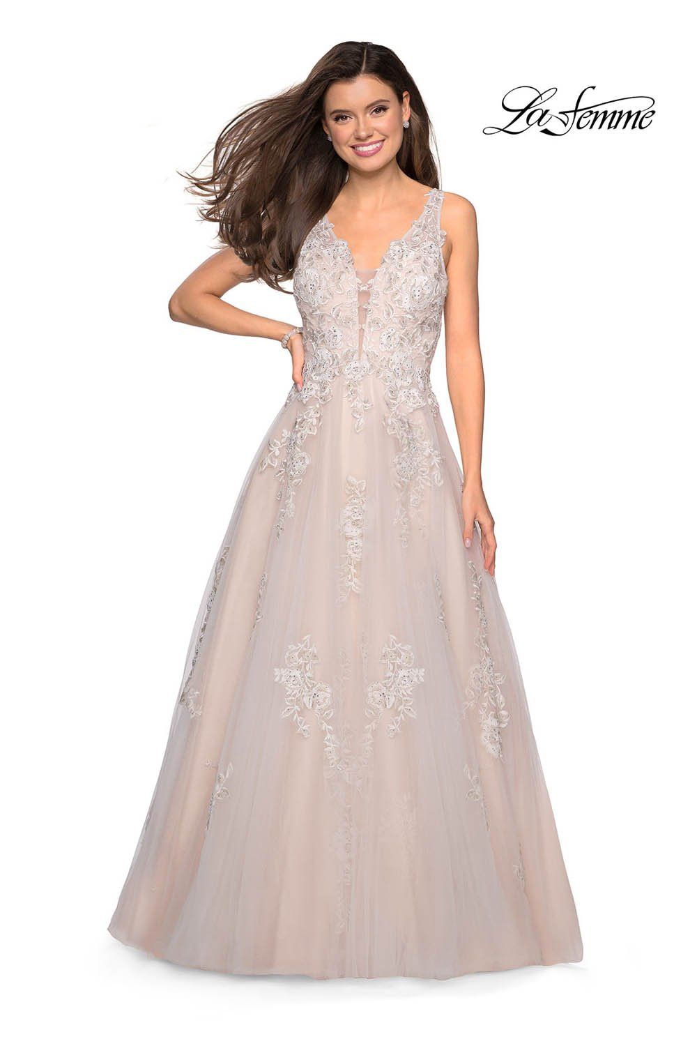 Gigi by La Femme 27727 prom dress images.  Gigi by La Femme 27727 is available in these colors: Ivory Nude, Periwinkle.