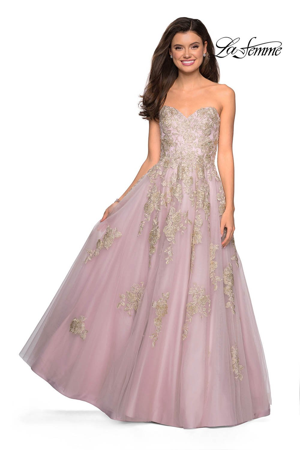 Gigi by La Femme 27731 prom dress images.  Gigi by La Femme 27731 is available in these colors: Dusty Pink, Platinum.
