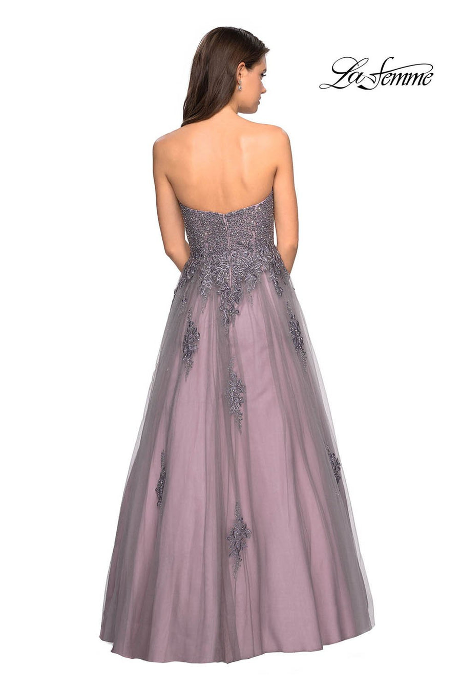 Gigi by La Femme 27767 prom dress images.  Gigi by La Femme 27767 is available in these colors: Grey Pink.