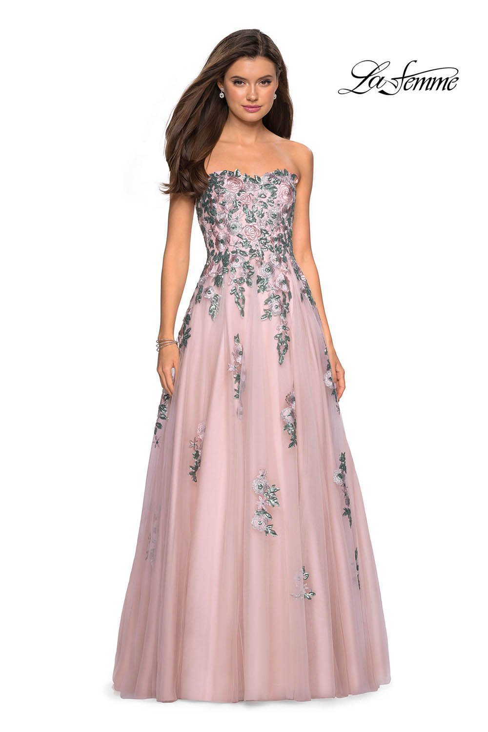 Gigi by La Femme 27816 prom dress images.  Gigi by La Femme 27816 is available in these colors: Blush.