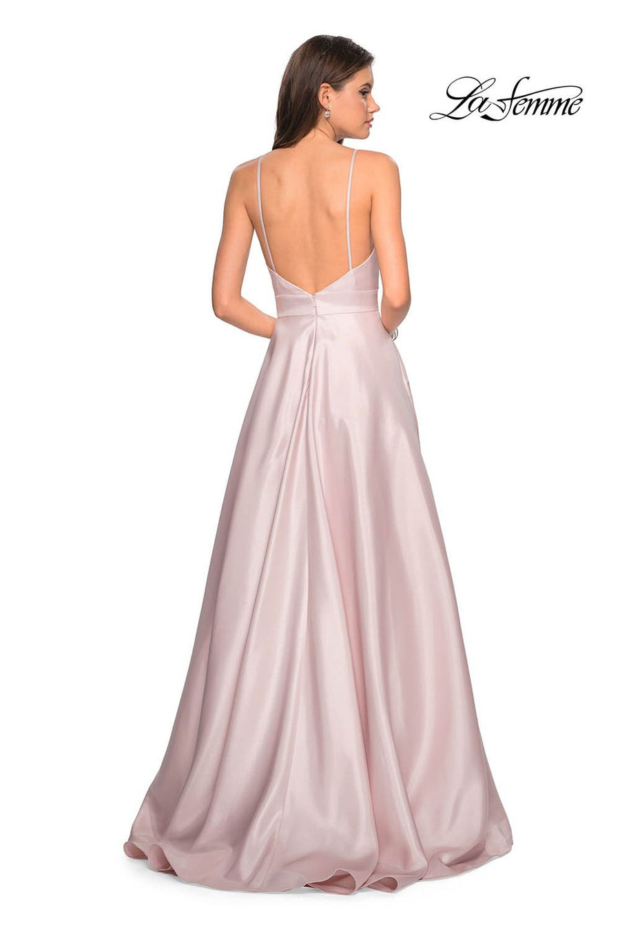 Gigi by La Femme 27823 prom dress images.  Gigi by La Femme 27823 is available in these colors: Aqua, Pale Pink.