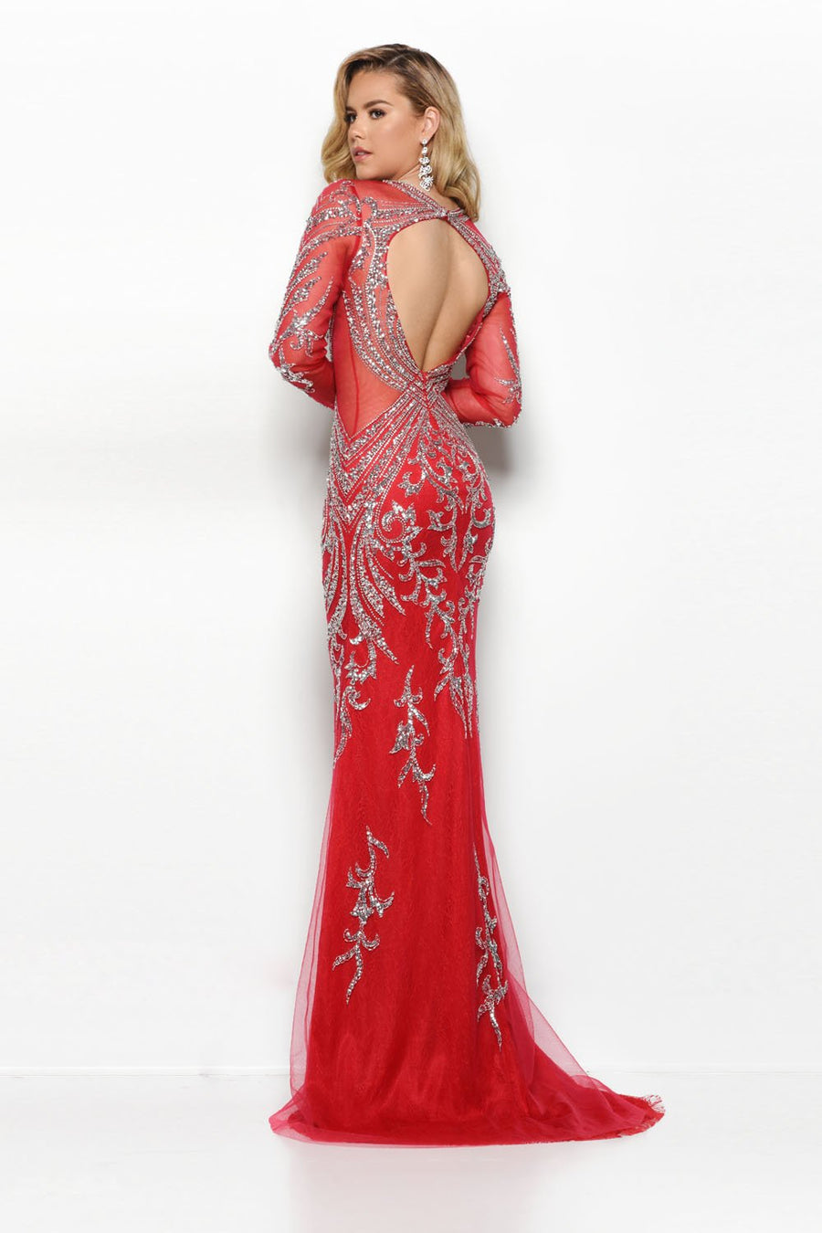 Jasz Couture 6204 prom dress images.  Jasz Couture 6204 is available in these colors: Nude, Red Silver, Black Silver.
