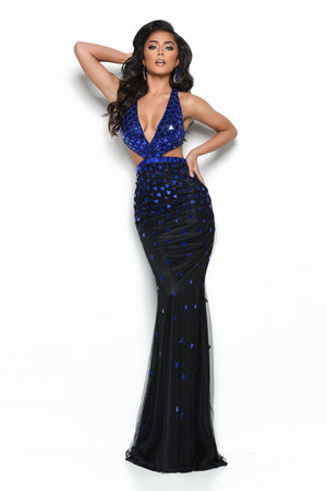Jasz Couture 7010 prom dress images.  Jasz Couture 7010 is available in these colors: Black Royal, Black Red, Hot Pink Silver.