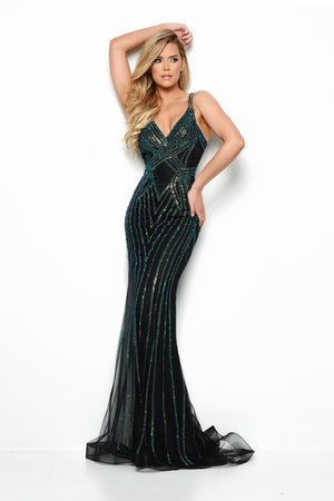 Jasz Couture 7011 prom dress images.  Jasz Couture 7011 is available in these colors: Black Green.