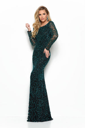 Jasz Couture 7023 prom dress images.  Jasz Couture 7023 is available in these colors: Black Emerald, Gunmetal.