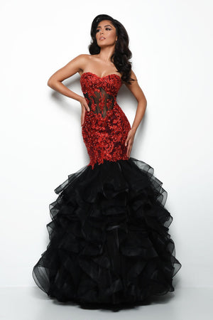 Jasz Couture 7025 prom dress images.  Jasz Couture 7025 is available in these colors: Black Red, Wine, Yellow.