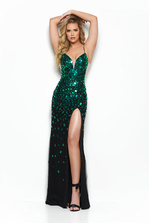 Jasz Couture 7034 prom dress images.  Jasz Couture 7034 is available in these colors: Black Green, Black Multi, Black Royal.