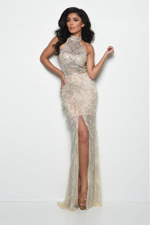Jasz Couture 7037 prom dress images.  Jasz Couture 7037 is available in these colors: Nude.